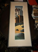 FRAMED GLAZED SIGNED LIMITED EDITION PRINT SEB WEST BAMALUZ BEACH 202/850